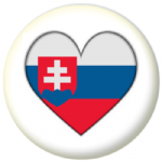 Slovakia Country Flag Heart 25mm Button Badge